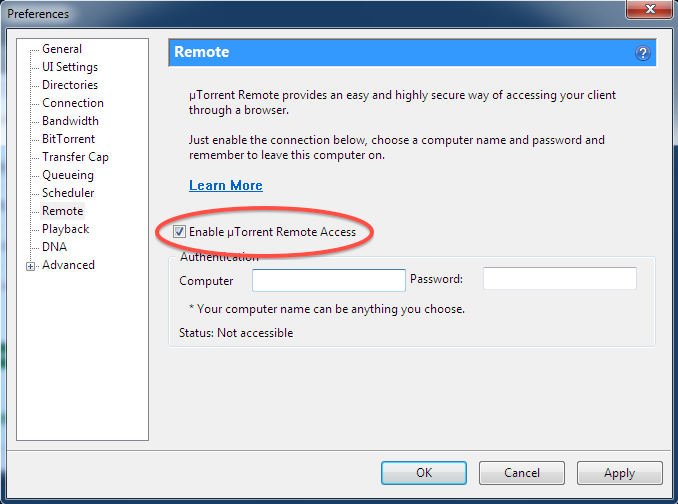 µTorrent Enable Remote Access in the µTorrent settings
