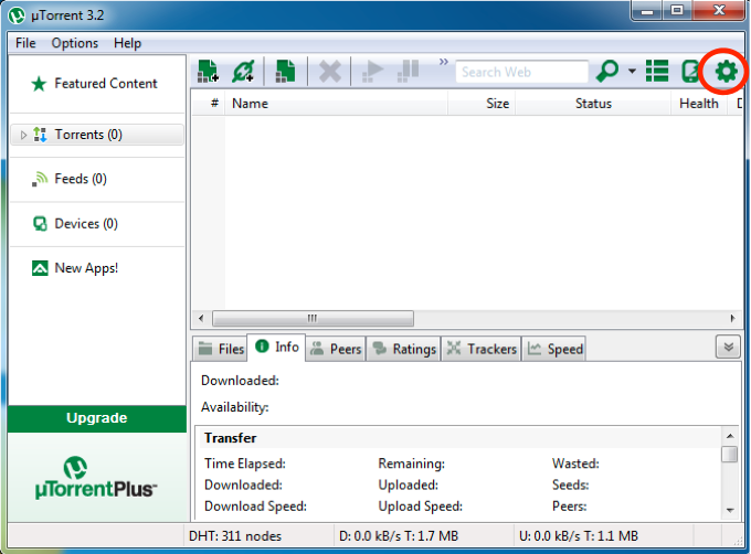 Screenshot of uTorrent